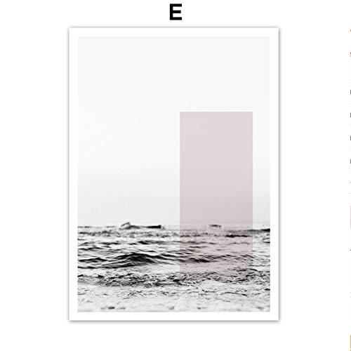 SDFSD Rosa Ananas Rose Pfingstrose Reed Sea Zitate Wandkunst Leinwand Malerei Nordic Poster und Drucke Wandbilder für Wohnzimmer Dekor E 40 * 50cm