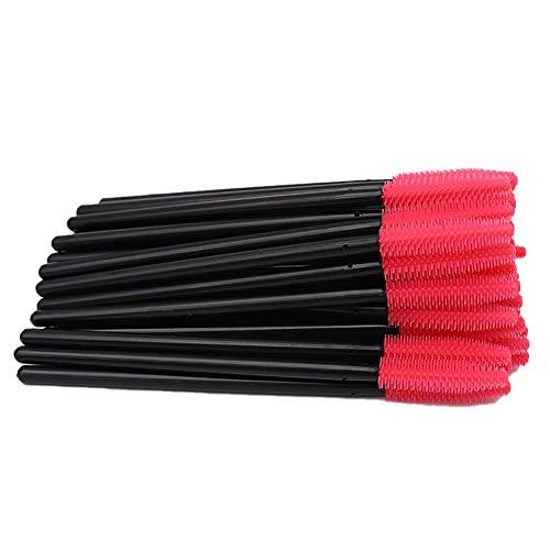 CyFe Lot de 50 baguettes à mascara jetables - Applicateur de cils - Pour extension et levage de cils - C (noir + rose)