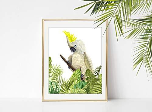 Rac76yd gele kuif kaketoe in tropische bladeren aquarel kunst schilderen kaketoe tropische vogel papegaai kaketoe kunst kaketoe huisdecoratie