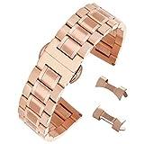 Cepillado Aumentaron Correas de Reloj de Oro Macizo INOX 304 SS Correas de Reloj de Acero de 22 mm de los Hombres con Extremo Recto y se inclinó