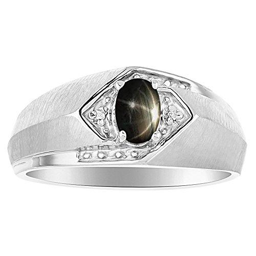 Black Star - Juego de anillos de zafiro y diamante en oro amarillo de 14 K o blanco de 14 K