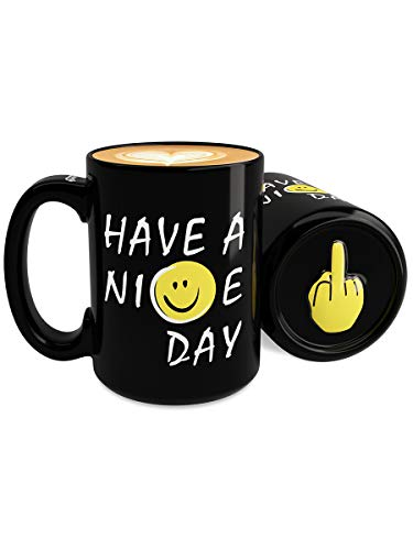 Immaculife Funny Coffee Mug Have a Nice Day Middle Finger Coffee Mug Women Men 15 Ounces, Black