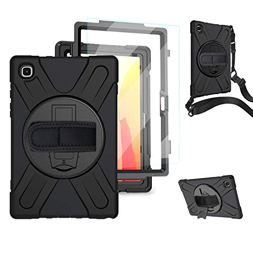 Samsung Galaxy Tab A7 Case with Screen Protector | TSQQST Galaxy Tab A7 Rugged Case SM-T500/T505 Heavy Duty Shockproof Cover w/ 360° Stand Hand Shoulder Strap for Tab A7 10.4 Inch Tablet| Black