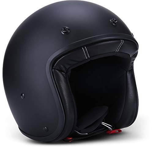 Rebel R9 Motorrad-Helm Roller-Helm, ECE Fiberglas SlimShell Tasche, M (57-58cm), Matt Schwarz