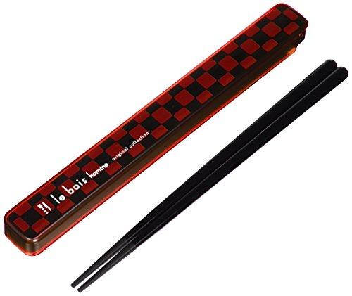 小森樹脂 箸 箸箱 ルボア・オム セット レッド 21cm 食洗機 対応