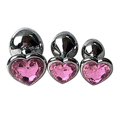 3Pcs Set Luxury Metal Butt Toys Heart Shaped Anal Trainer Jewel Butt Plug Kit S&M Adult Gay Anal Plugs Woman Men Sex Gifts Things for Beginners Couples Large/Medium/Small,Pink
