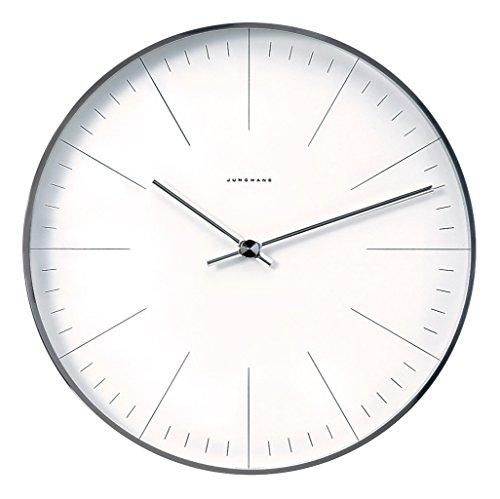 max bill Design-Wanduhr im Bauhaus-Stil | Quarz-Uhrwerk | Made in Germany | Ø 30 cm | Strich-Zifferblatt