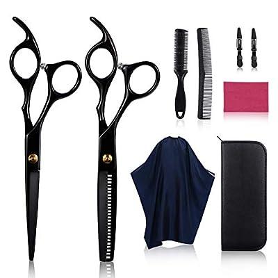 9Pcs Hair Scissors, DIOZO Stainless Steel Hair Cutting Scissor Thinning Scissors & Texturizing Scissors for Salon Barbers Men Women and Children