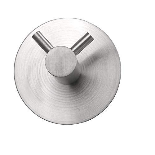 Milti Handtuchhaken selbstklebend aus gebürstetem Edelstahl 304 - Silber - Design Handtuchhalter ohne bohren für Ihr Badezimmer oder Küche - Nie wieder bohren - Matter Aufhänger