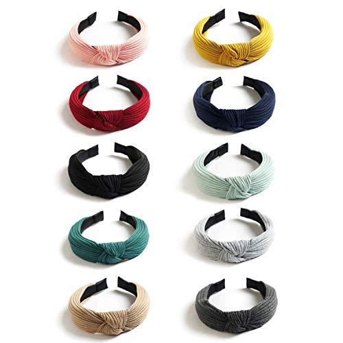 DRESHOW 10 Pack Large Bandeaux Noeud Turban Bandeau Bande De Cheveux Élastique Plaine Mode Accessoires De Cheveux pour Femmes