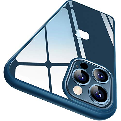 CASEKOO Crystal Clear Hülle Kompatibel mit iPhone 12 Pro Max [Keine Vergilbungen] [Falltest gemäß MLT-STD] Stoßfest Transparent Hülle Slim Dünn Handyhülle 6,7 Zoll 5G 2020- Blau