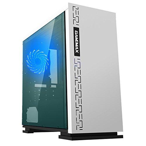 Game Max Expedition Case Mini Micro Tower 0.6MM SPCC con Ventola 15 Led Blu 3*USB3.0/2.0 Pannello Laterale in Plexiglass (AxPxL: 380x350x188 mm), Bianco