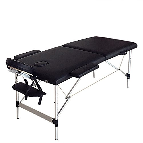 Professional Premium Massage Table Massage Bed Spa Bed with Long Portable for Salon, Spa,Tatoo, Massage (2-floding-black-73')