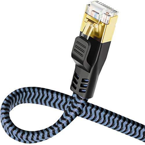 Yauhody– 10m – CAT8 Cavo Ethernet, Patch e di Rete connettori RJ45, per la Massima velocità di Trasmissione della Fibra Ottica, Ideale per reti Gigabit/LAN, Router/Modem, Switch (blu)