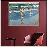 Joaquin Sorolla 《Niños en el mar, Playa de Valencia》 Arte de la lona Pintura al óleo Cuadro decorativo Decoración de la pared Decoración del hogar -60x60cm Sin marco