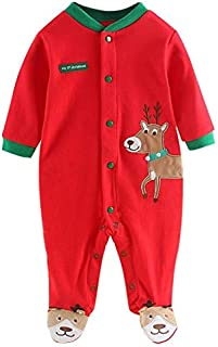 Zmond - Warm Winter Christmas Baby Climbing Clothes Santa Newborn Body Suits Carton Elk Printed Baby Conjoined 0~12M [ 9M ]