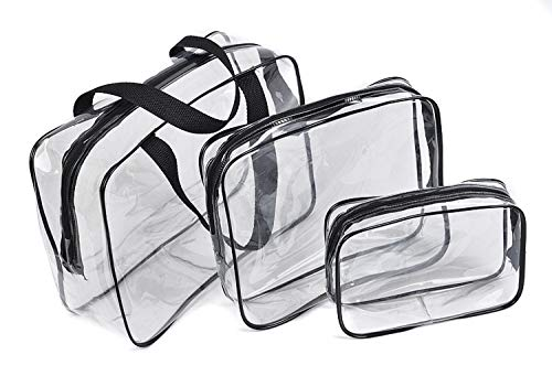 3pcs/Set Cosmetic Bag For Women Transparent Design Makeup Organizer Bag Outdoor Travel Portable Storage Pouch Newly Neceser Black