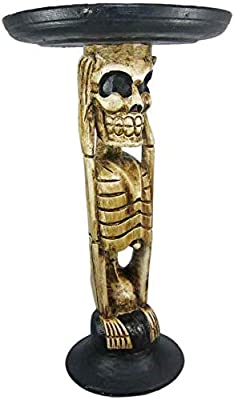 Amazon Com Bad Social Skeleton Blood Drunk Tiki Table Skull Bone Hand Carved Wood Plant Stand End Table Sculpture Bar Decor Kitchen Dining