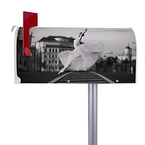 BANJADO US Mailbox | Amerikanischer Briefkasten 51x22x17cm | Letterbox Stahl weiß | mit Motiv Ballerina In Moskau | inkl silbernem Standfuß