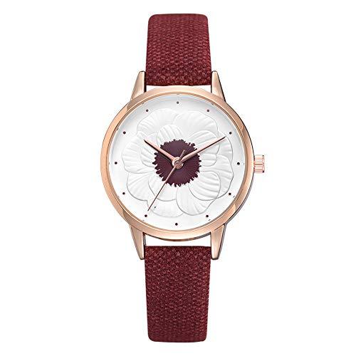 Reloj de cuarzo para mujer, correa de piel sintética, diseño floral, esfera redonda, analógico, cuarzo
