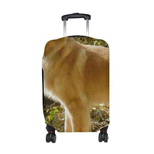 Dogs Autumn Leaves Stand Pattern Print Travel Luggage Protector Baggage Suitcase Cover Fits 18-21 Inch Luggage