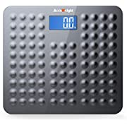 "ACCUWEIGHT Bathroom Scale Digital Anti-Skid Surface Body Weight Scale with 3.6"" Backlight Display and Step-on Technology, 400lb/180kg, Dark Gray"