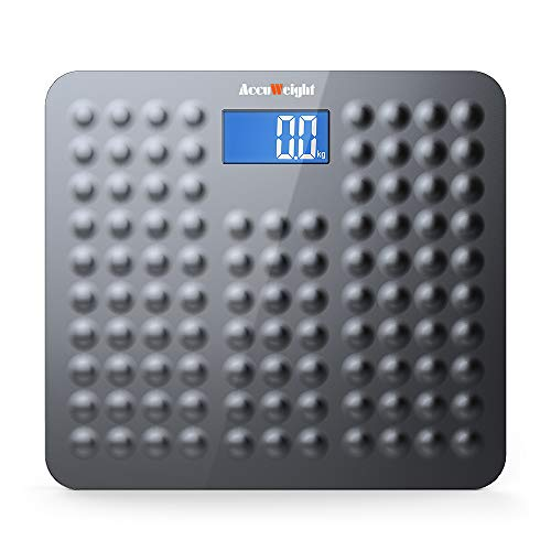 ACCUWEIGHT Bathroom Scale Digital Anti-Skid Surface Body Weight Scale with 3.6' Backlight Display and Step-on Technology, 400lb/180kg, Dark Gray