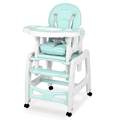 Kinderhochstuhl Babyhochstuhl Mitwachsender Multifunktions Hochstuhl 5in1 Tisch + Babystuhl regulierbar Schaukelfunktion SINCO Ricokids (Türkis)