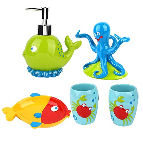 5 Unids Resina Kids Baño Set Loción Dispensador Titular De Cepillo De Dientes Jabonera Taza De Cepillo De Dientes Dibujos Animados Creativos Criaturas Marinas Set De Baño