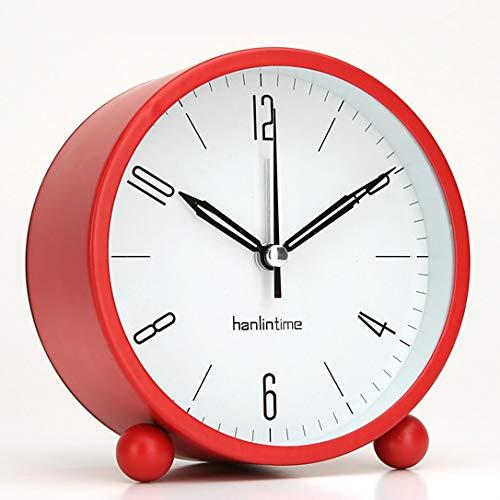 Luxuryclock Tafelklokken, Pendulums, Kleine Alarm Klokken. Studenten zetten ronde stille klokken, metalen nachtkastjes op een eenvoudig bureaublad
