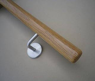 Pasamanos de madera roble con radio y soporte ø42mm