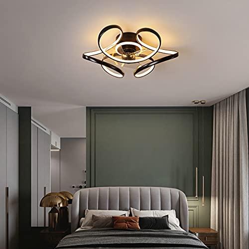 YUNLONG LED Lamparas Ventilador De Techo Dormitorio con Mando Distancia, Moderno Regulable Ventilador Techo con Luz Silencioso 48W con Temporizador 3 Velocidades Ventilador Techo,Negro