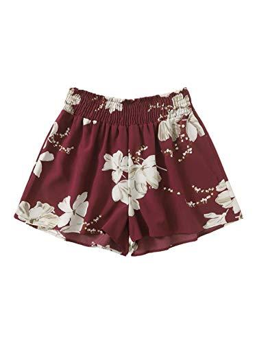 Romwe Women's Plus Boho Floral Print Elastic Shirred Waist Beach Shorts Burgundy 3 Plus