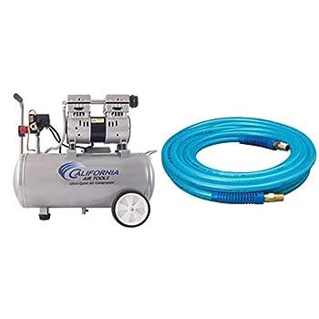 California Air Tools 8010 Steel Tank Air Compressor | Ultra Quiet Oil-Free 1.0 hp 8 gal & Plews & Edelmann Amflo 12-25E Polyurethane Air Hose - Non-marring Smooth Finish 1/4  X 25  Blue 25 ft