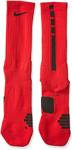 NIKE Elite Crew Socks, University Red/Black/Black, M Unisex-Adult