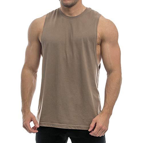 Sixlab Essentials Cut Off Tank Top Herren Muskelshirt Gym Fitness (XL, Braun)