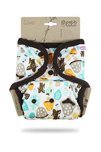 Petit Lulu One Size Überhose (4-15 kg) für Stoffwindeln Druckknöpfe (Tiere und Pilze)