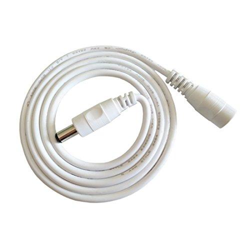 Liwinting 2m DC Verlängerungskabel 5.5 mm x 2.1 mm DC Anschlusskabel DC/Gleichstrom Verbinderkabel DC Verteiler Männlich zu Weiblich Verbinder für Netzteil, LED, CCTV-Kamera Power, Auto - Weiß