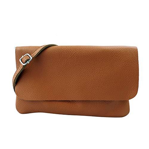 SH Leder Echtleder Umhängetasche Clutch kleine Tasche Abendtasche 24,50x15cm Ely G149 (Cognac)