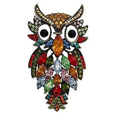 Butler and Wilson Multi Coloured Owl Brooch