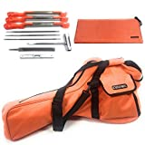 Cataumet Chainsaw Carrying Case Bag Holds 14 16 18 Inch Saws Chain Saw Sharpener File Kit Includes 3 File Sizes 5/32 3/16 7/32 with 3 Sharpening Guide Handles Depth Gauge Flat File Wrench