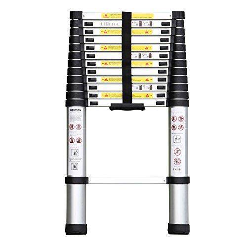 Ollieroo EN131 Aluminum Telescopic Extension Ladder with Spring Loaded Locking Mechanism, Non-slip Ribbing, 330lb. Capacity, 12.5ft