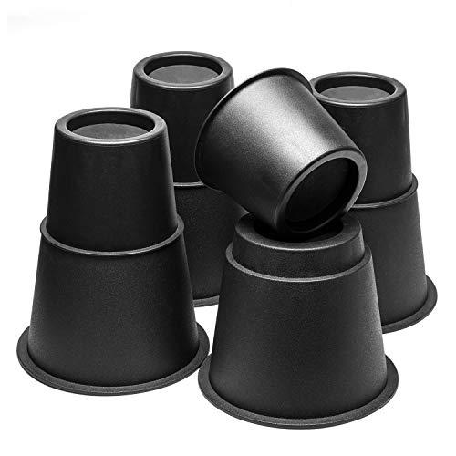 Uping Rehausseur Pieds de Lit Rehausseur de Table Pied de Meuble, 3 Hauteurs Réglables de 7,5CM 13CM ou 20,5CM (4 Paires, Noir)