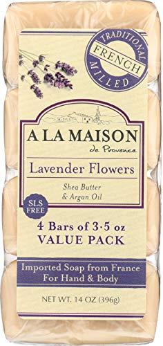A La Maison Pains de savon ultra-hydratant Lavender Flower - Aux fleurs de lavande, à l'huile d'argan et au beurre de karité - Super Value Pack (Paquet de 4 savons)