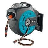 GARDENA 8025-20 - Caja de manguera montada en la pared, 35 roll-up automático Li, 35m, 180 ° Inclinable, Azul y Naranja