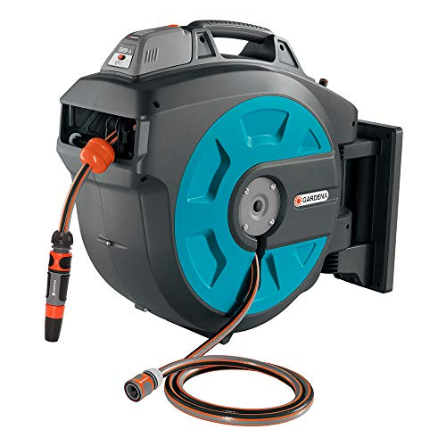 Gardena 8025-20 Wandslangtrommel 35 roll-up automatic Li: Automatische slanghaspel voor wandmontage, inschuiving via accu met een druk op de knop, 180 graden draaibaar, lengte slang 35 m
