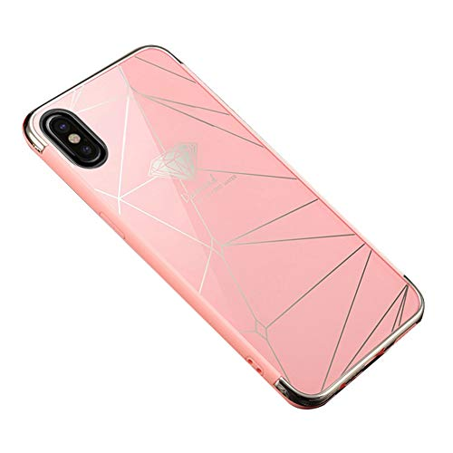 Ysimee Coque iPhone X, Effet Miroir Étui en PC Dur Housse de Protection Bord en Silicone Gel Antichoc Couleur Plaquée Ultra Mince et Léger Coque pour iPhone X,Diamant Rose