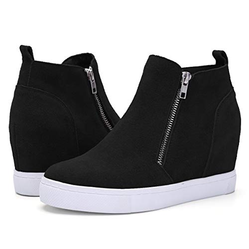 Athlefit Women's Hidden Wedge Sneakers Platform Booties Casual Shoes Size 5.5 Black