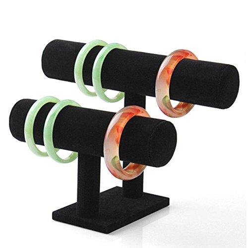 Gaddrt doppio ripiani in velluto nero Librarsi T-bar bracciale collana a forma di supporto per home organizzazione