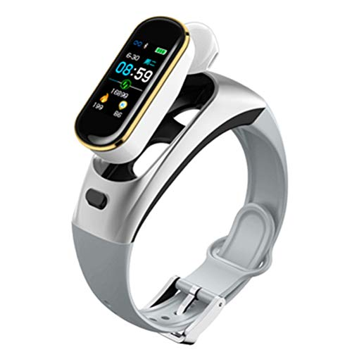 ZHJIUXING CC Smart Watch Fitness Tracker Pulsera Inteligente Auriculares Bluetooth Probador de Ritmo cardíaco Llamadas con Manos Libres Reloj Inteligente para Hombres, B